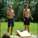 Mark and Ben playing Cornhole
